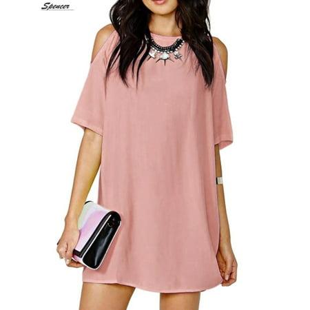 Spencer Plus Size Off Shoulder Chiffon Beach Dress for Women Cut Out Shoulder Trumpet Dress Top