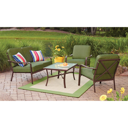 Mainstays Crossman 4-Piece Patio Conversation Set, Green, Seats 4