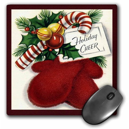 3dRose Holiday Cheer Greeting with Red Mittens Candy Cane and Holly Cartoon, Mouse Pad, 8 by 8