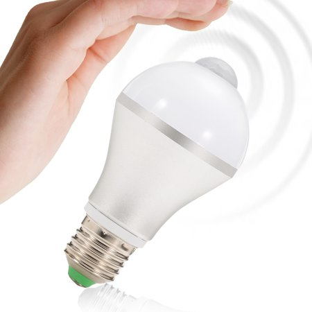 E26 7W LED Motion Sensor Light Bulb, Cold White Auto On/Off Night Light for Corridor Stairs Garage Hallway - image 6 de 6