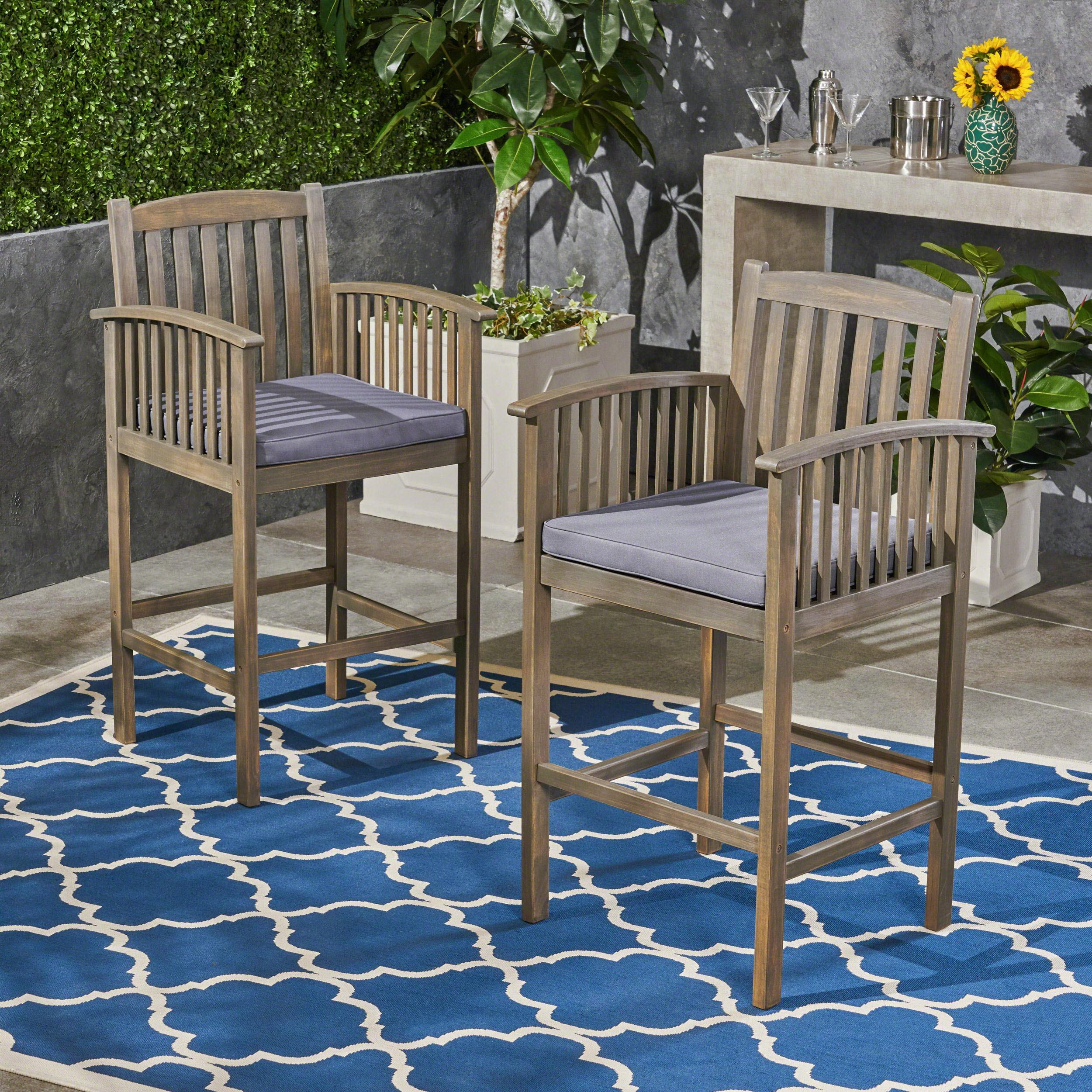 Frederic Outdoor Acacia Wood Bar Stools with Cushions, Set of 2, Natural, Cream