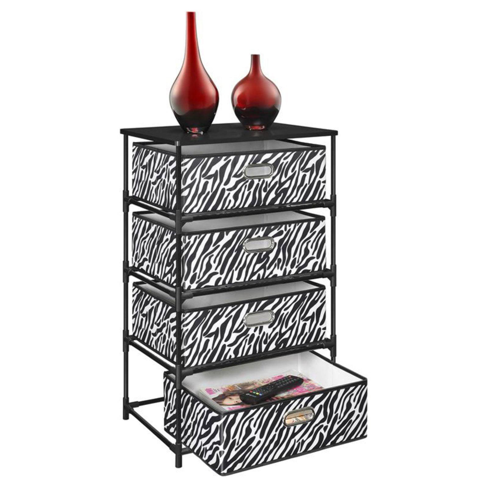 Ameriwood Home Sidney 4 Bin Storage End Table, Zebra Print