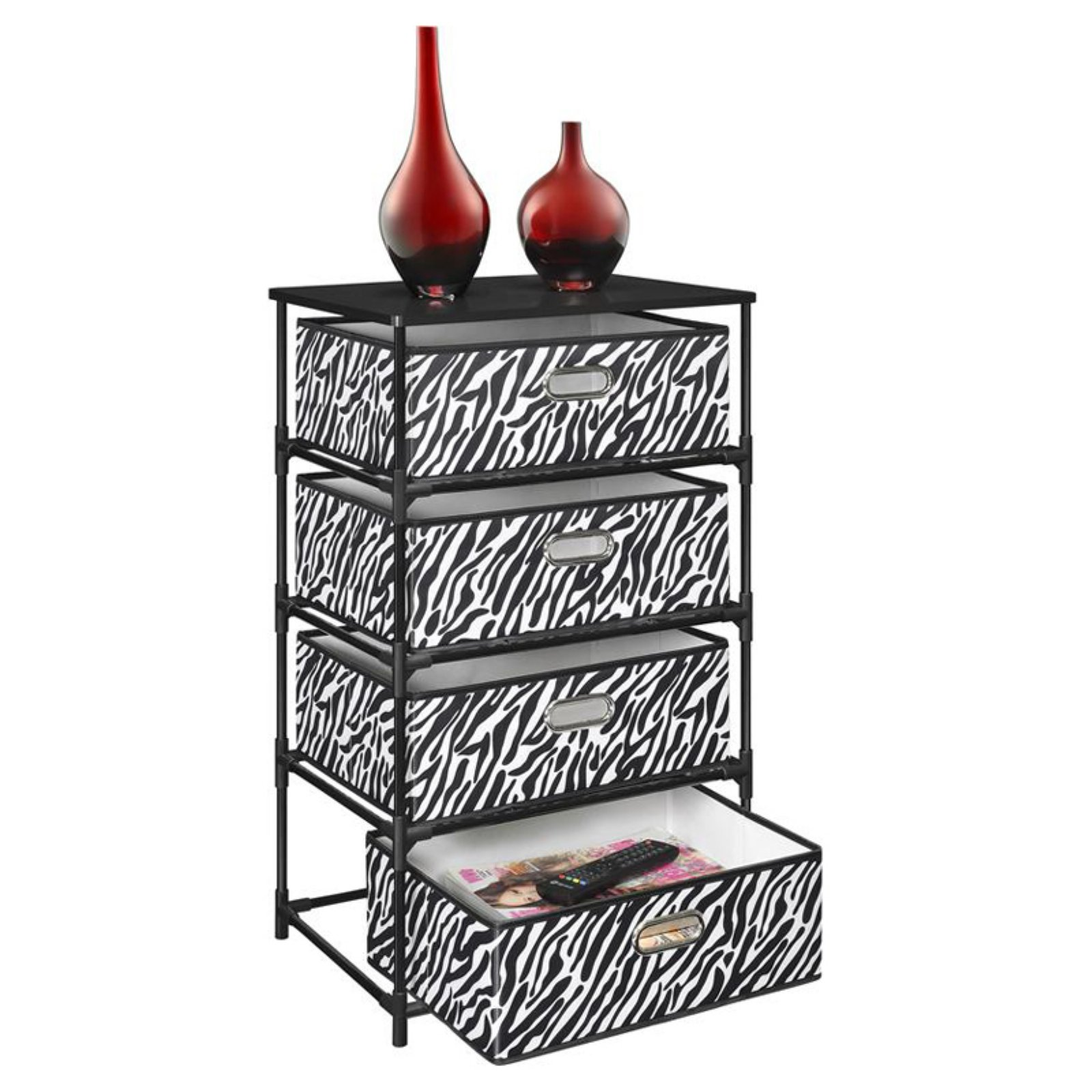 Merveilleux Ameriwood Home Sidney 4 Bin Storage End Table, Zebra Print