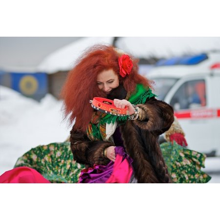 - Peel-n-Stick Poster of Woman Feast Winter Ginger Hair Dance Russia Music Poster 24x16 Adhesive Sticker Poster Print