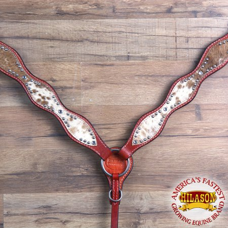 HILASON WESTERN AMERICAN LEATHER HORSE BREAST COLLAR DARK OIL COWHIDE
