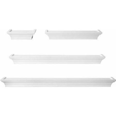 Melannco White Wall Shelves, Set of 4