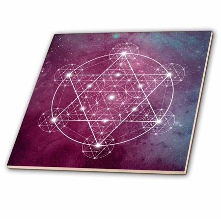 3dRose Sacred Star Geometry On A Purple and Blue Teal Background - Ceramic Tile, - Blue Toile Background