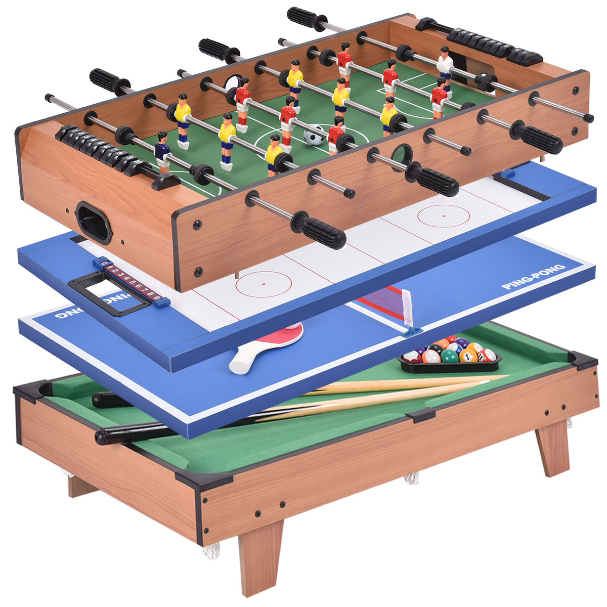 Costway 4 In 1 Multi Game Air Hockey Tennis Football Pool...