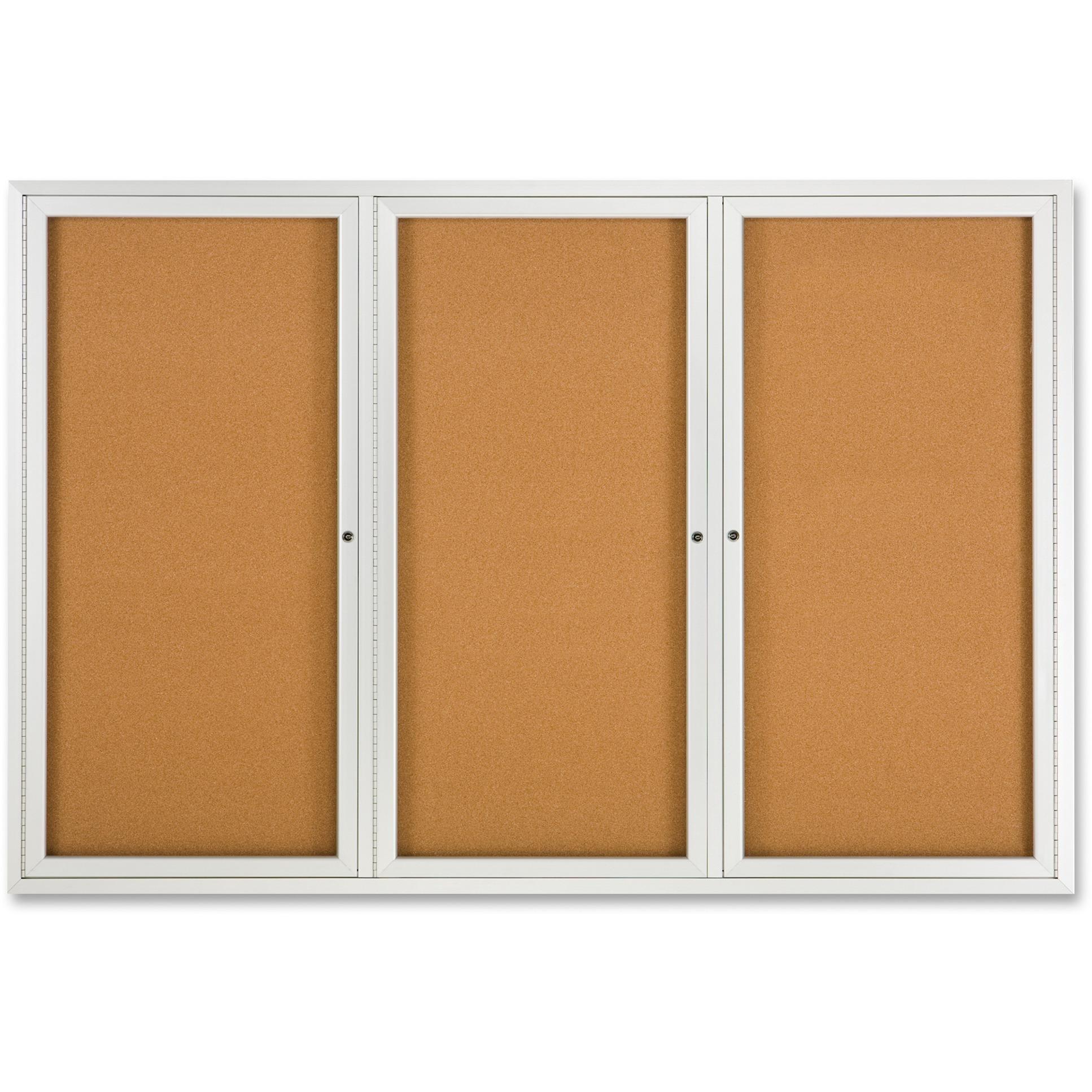 Quartet, QRT2367, Framed 3-door Enclosed Cork Bulletin Brd, 1 Each
