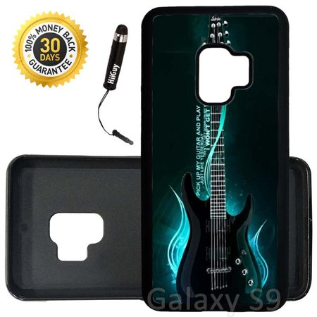 1 Black Rubber - Custom Galaxy S9 Case (One Cool Electric Guitar) Edge-to-Edge Rubber Black Cover Ultra Slim | Lightweight | Includes Stylus Pen by Innosub