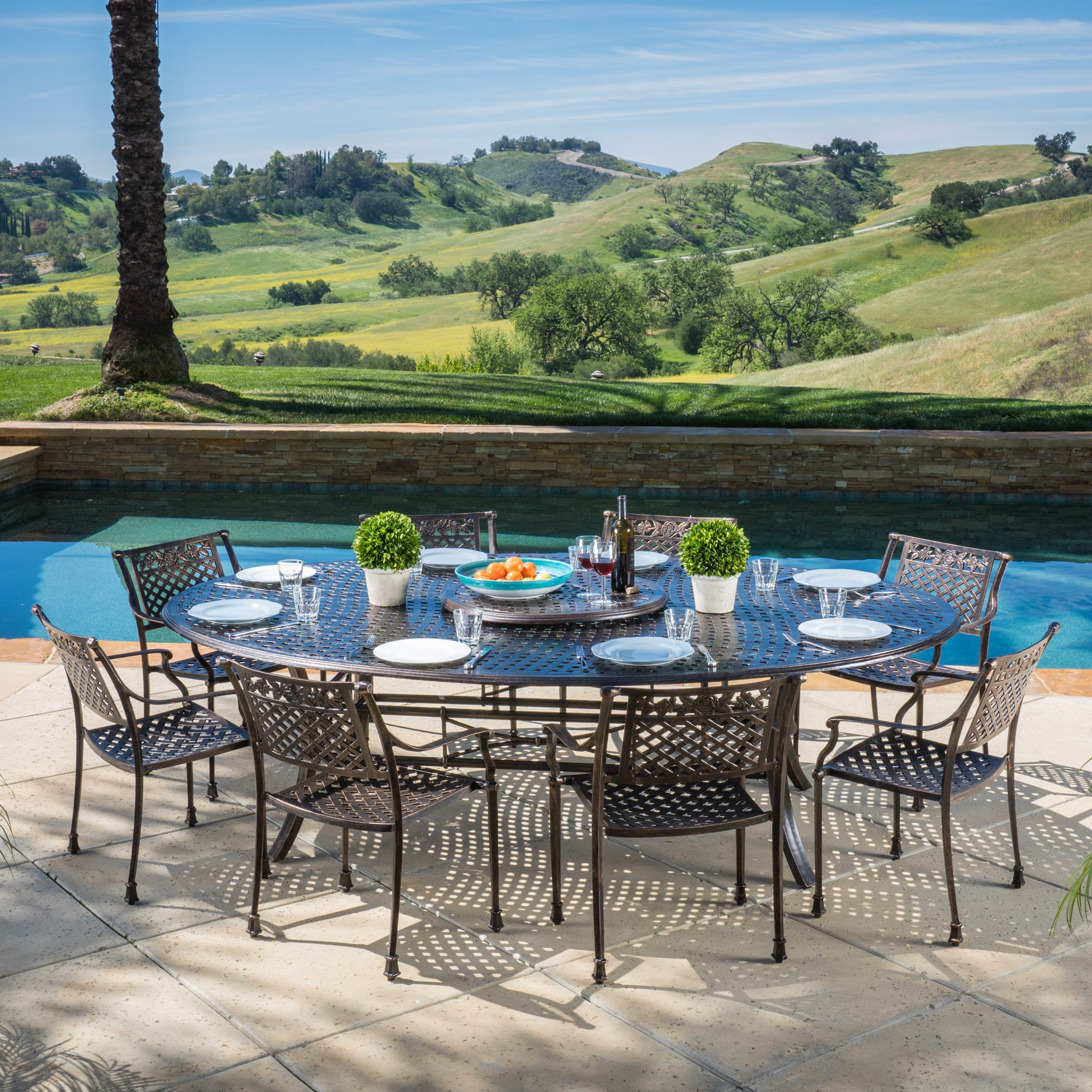 Christopher Knight Home Sebastian Outdoor Cast Aluminum 9-piece Dining Set w by