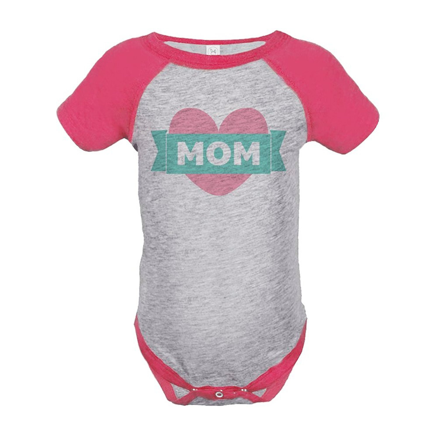 Custom Party Shop Baby Girls' Mothers Day Baseball Onepiece - Pink and Grey / 6 Months