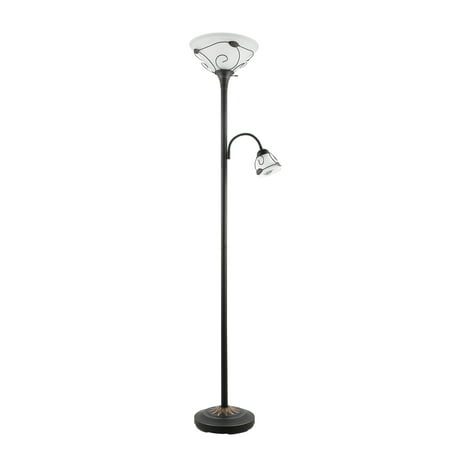 ETL Listed Torchiere Floor Lamp w/ Side Reading Lamp Dark-bronze Painted Finish Column Torchiere Floor Lamp