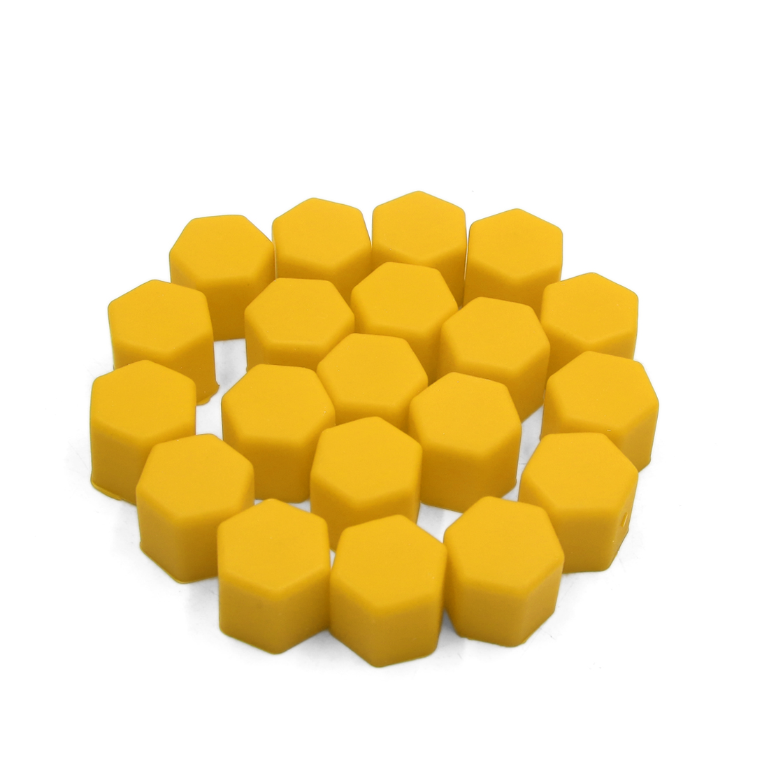 20pcs 17mm Yellow Silicone Car Tyre Wheel Hub Screw Cap Dust Cover Protector