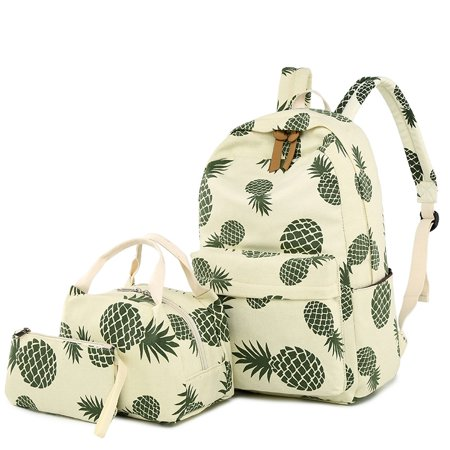 3pcs/Set Women Flower Printing Backpack Nylon Designer Pineapple printed Bagpack Schoolbag for Teenagers Girls Computer By Topboutique ()