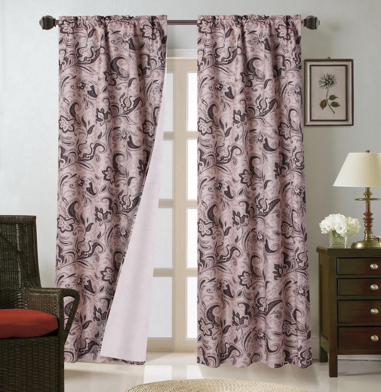 "WARDA Floral PANEL Thermal Blackout Room Darkening Window Curtain 84/"" 1 Set"