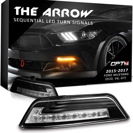 Arrow™ Sequential DRL LED Turn Signals for 15-17 Ford Mustang - Bolt On Plug'n'Play - Switchback White Amber Light Pair - 2 Year Warranty