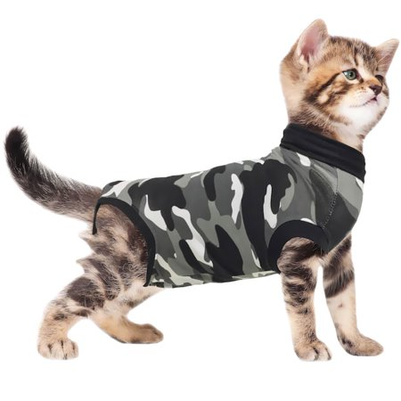 Suitical Recovery Suit for Cats Camo  XXSmall - Shark Cat Suit