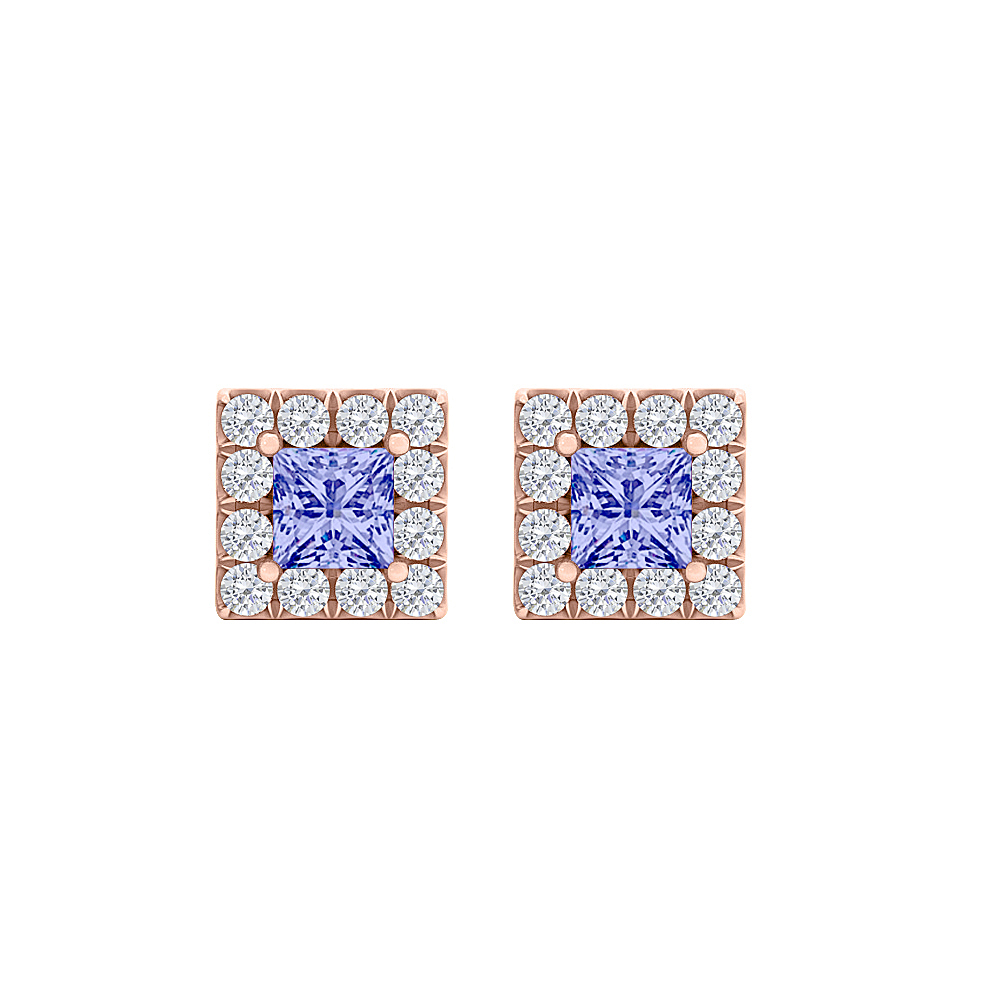 Square Tanzanite CZ Halo Earrings 14K Rose Gold Vermeil - image 2 de 2
