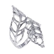 Beautiful Cut Out Leaves Wrap Silver Ring (Thailand) Size 10