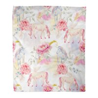 KDAGR Flannel Throw Blanket Colorful Child Watercolor Pegasus Pattern and Unicorn Pink Peony Flowers Clouds Leaves Blue 50x60 Inch Lightweight Cozy Plush Fluffy Warm Fuzzy Soft