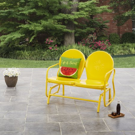 - Mainstays Retro Outdoor Glider Bench - Yellow - Walmart.com