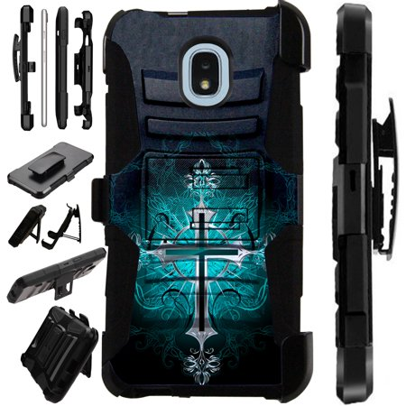 LuxGuard Phone Case Cover For Samsung Galaxy J3V (2018)   J3 Orbit   J3 Achieve   Express Prime 3 (Teal Gothic Cross)