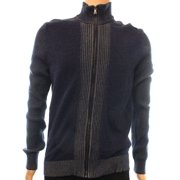 INC NEW Blue Navy Mens Size 2XL Full Zip Ribbed Mock Neck Knit Sweater $59