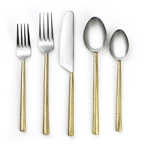 Cambridge Silversmiths Priya Hammered Brass 20-Piece Flatware Set