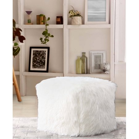Mainstays Bear Fur Pouf, Vanilla Dream