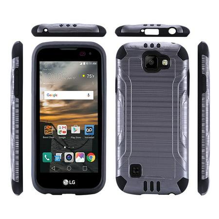 free shipping 51c4d 0387b LG K3 Case, Super Slim Brushed Metallic Hybrid Hard Cover on TPU[Standard  Black]