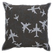 """Rachel Kate By Rizzy Home Decorative Poly Filled Throw Pillow Airplanes 18""""X18"""" Charcoal"""