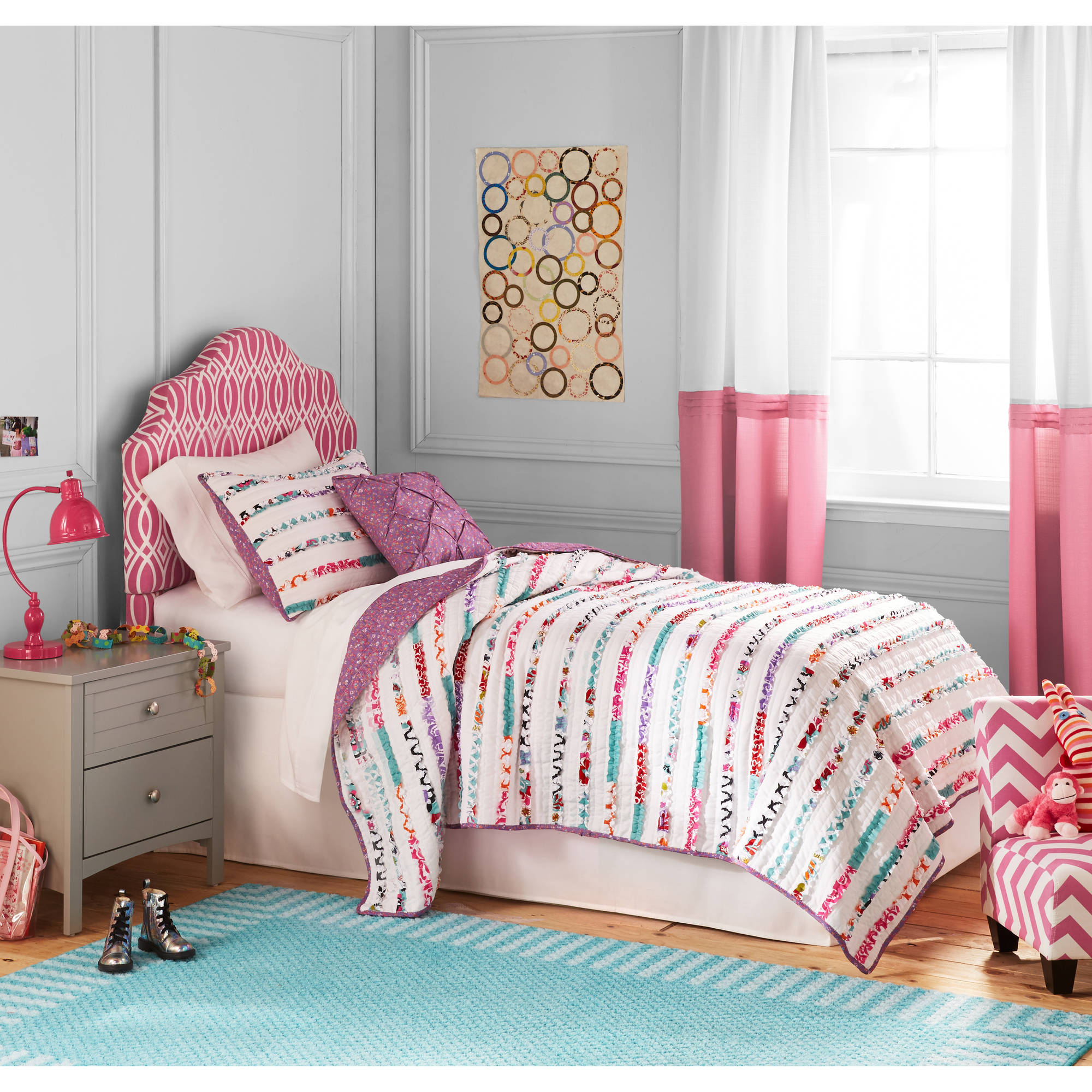 Better Homes and Gardens Kids Ruffled Stripes Bedding Quilt Set