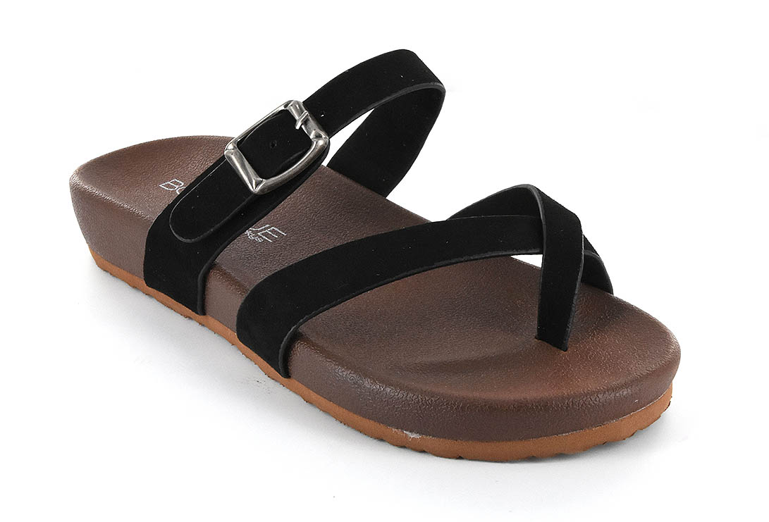 Corkys Womens Heavenly Faux Suede Buckle Sandal (Black, 11)