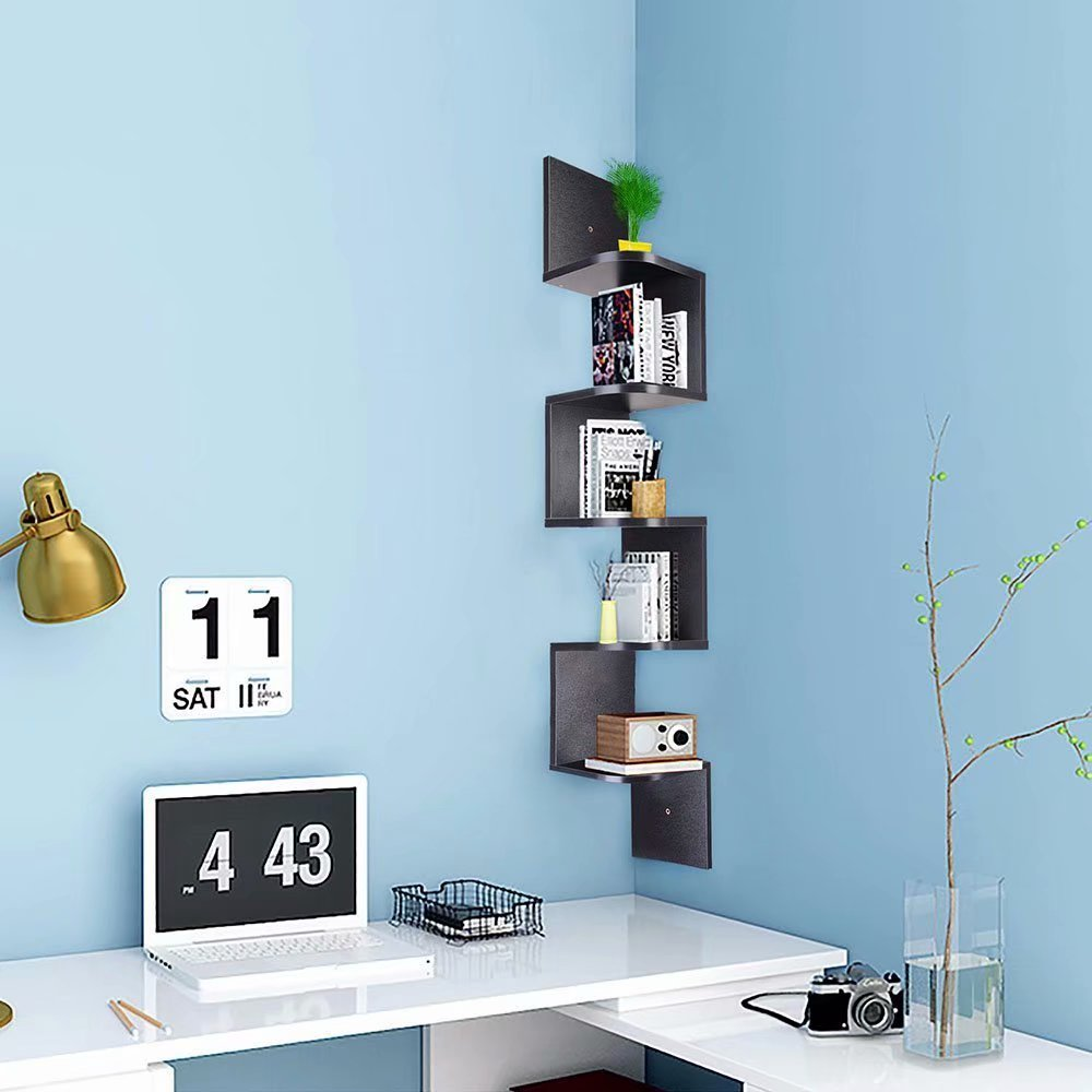 Akoyovwerve 5 Tiers Wall Mount Corner Shelf Wood Storage Organizer w/ Gradienter Home Furniture, Black