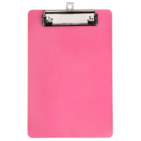 JAM PAPER Small Plastic Memo Clipboards with Low Profile Metal Clip, Mini (6 x 9), Pink, 2/Pack - Mini Clipboards Bulk