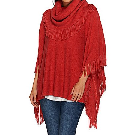 Layers by Lizden Marvelush Cowl Neck Fringed Poncho