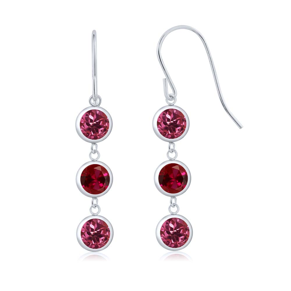 3.20 Ct Round Pink Tourmaline Red Created Ruby 925 Sterling Silver Earrings by
