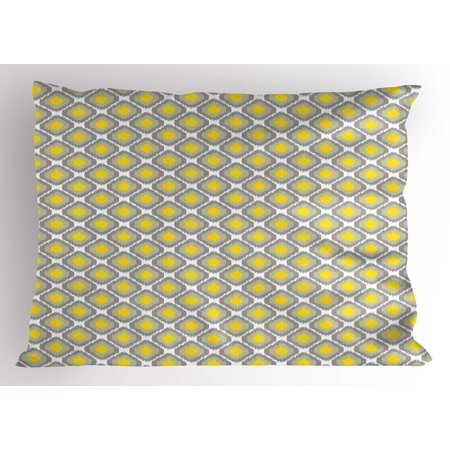 Ikat Pillow Sham Surreal Geometric Pattern with Squares with Vintage Color Palette Illustration, Decorative Standard Size Printed Pillowcase, 26 X 20 Inches, Grey Yellow White, by Ambesonne