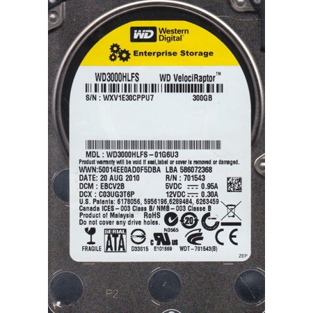WD3000HLFS-01G6U3, DCM EBCV2B, Western Digital 300GB SATA 2.5 Hard Drive