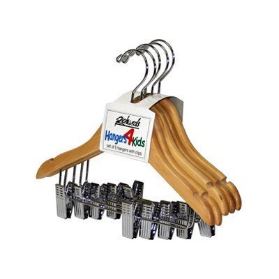 Wood Children's Shirt Hanger with Clips