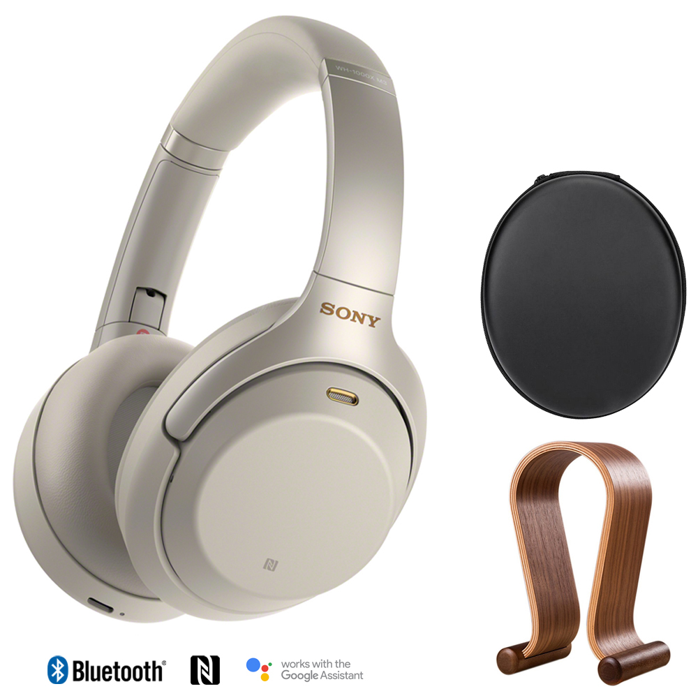 Sony WH1000XM3/S Premium Noise Cancelling Wireless Headphones with Microphone (Silver) + Wood Headphone Stand + Headphone Case