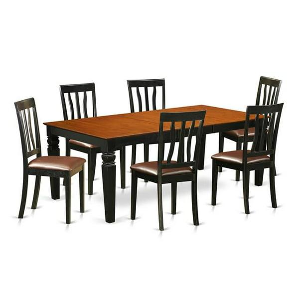 Table Set With One Logan Dining Table Six Chairs 44 Black Cherry 7 Piece Walmart Com Walmart Com