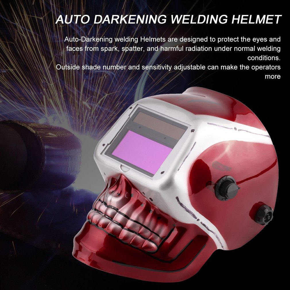 Solar Powered Pro Auto Darkening Welding Helmet Arc Tig Mig Mask Grinding Welding Mask with Red Skull Pattern