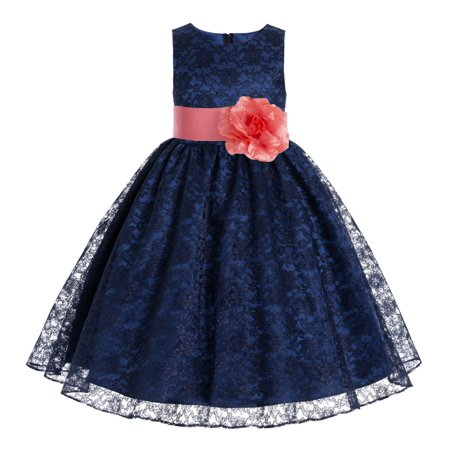 Navy Blue Floral Lace Overlay Junior Flower Girl Dress Princess 163S (Pink Disney Princess Dress)