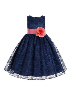 cba082b4 Product Image Navy Blue Floral Lace Overlay Junior Flower Girl Dress  Princess 163S