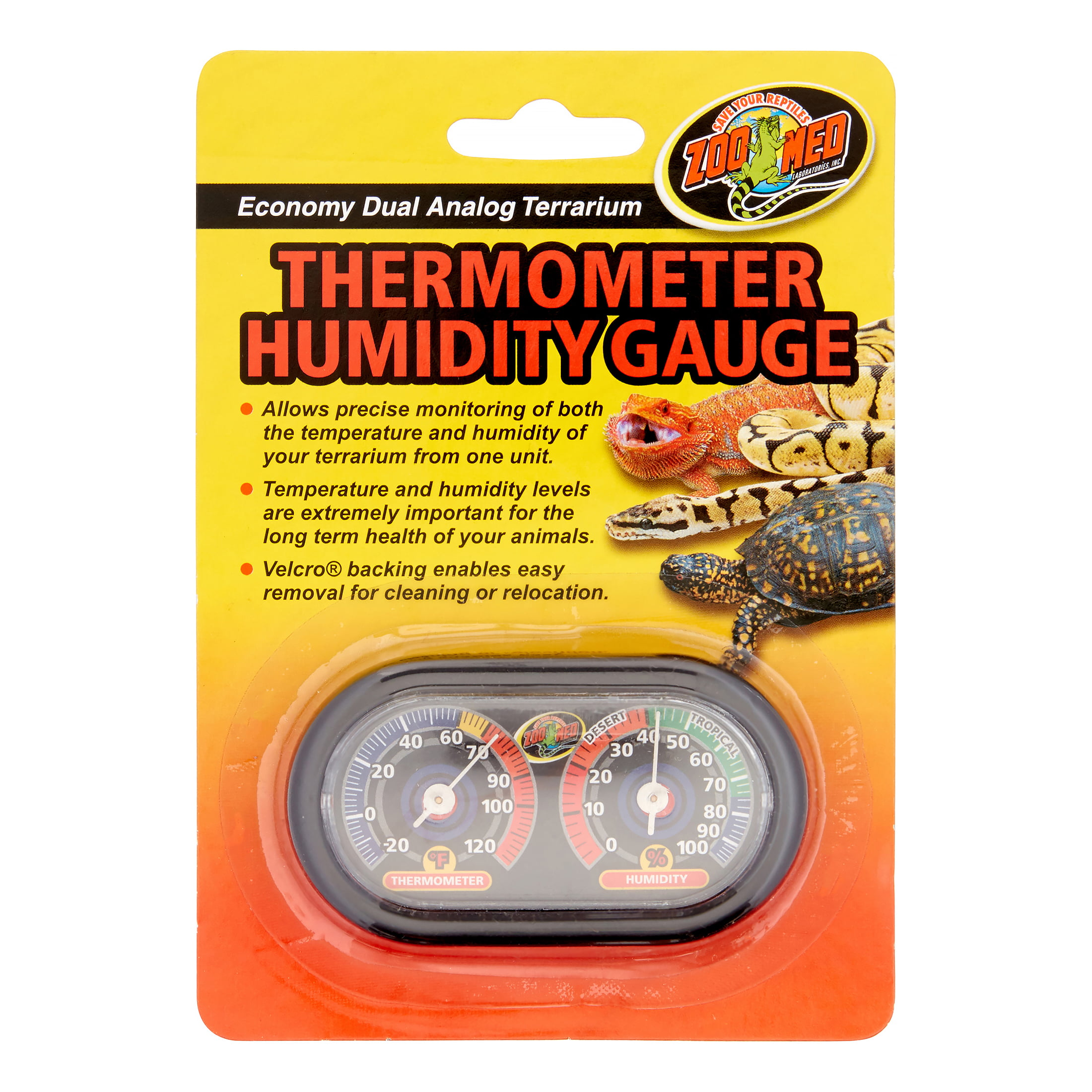 Zoo Med Economy Dual Analog Terrarium Thermometer Humidity Gauge by ZOO Med LABORATORIES INC