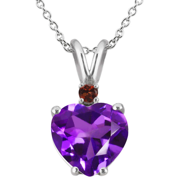 14K White Gold Heart Pendant set with 1.64 Ct Purple Amethyst & Red Garnet by
