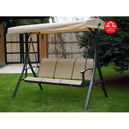 Kozyard Brenda 3 Person Outdoor Patio Swing with Strong Weather Resistant Powder Coated Steel Frame and Textilence Seats(Red)