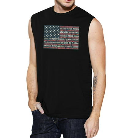 Image of 50 States Us Flag Mens Black Muscle Top Cap Sleeve For 4th Of July